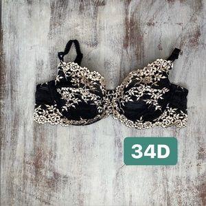 65191 Wacoal Black tan Floral Lace Unlined Bra 34D